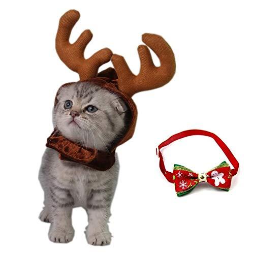 kungfu Mall 1 x Weihnachts-Outfit für Hunde, Katze, Geweih, Hut, Rentierhörner, Kopfbedeckung, Kappe, 1 x Haustier-Halsband, verstellbare Fliege.