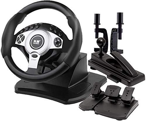QDY Volante de Juegos de Camiones, retroalimentación de Fuerza de simulación de conducción de Carreras de 900 °, Freno de Mano + Pedal de Embrague, PC con Windows Compatible, Negro