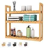 Domax Bamboo Bathroom Shelf 3-Tier Wall Mount Storage Rack Multifunctional Adjustable Layer Free Standing Over Toilet Utility Shelves Living Room Kitchen (Bamboo)