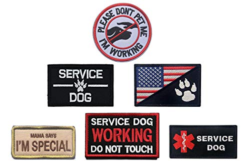 Antrix 6 Pcs Service Dog Patches Working Training K9 Police Dog Patches Hook & Loop Service Dog Badge Emblem Patch for Medium and Large Dogs Vests Harnesses Collar Clothes