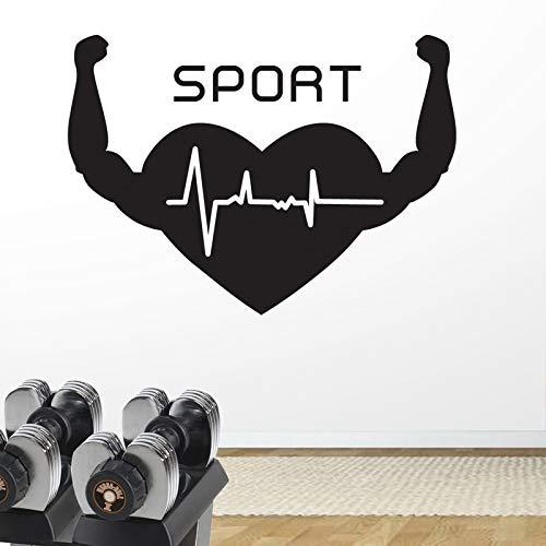Njuxcnhg Gym Aufkleber Fitness Arm Herz Crossfit Muscle Aufkleber Bodybuilding Poster Vinyl Wandtattoos Parede Decor Gym Aufkleber 104x74cm