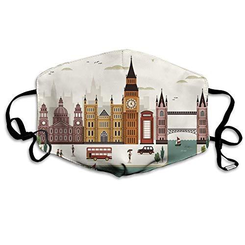 Bequeme Winddichte Maske, London, Reiseszene Berühmte Stadt England Big Ben Telefonzelle Westminster, Creme