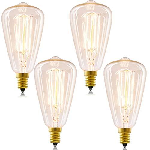 Candelabra Vintage Edison Bulbs, 40W E12 Antique Bulb Teardrop Warm White Dimmable Chandelier Edison Light, 4 Pack