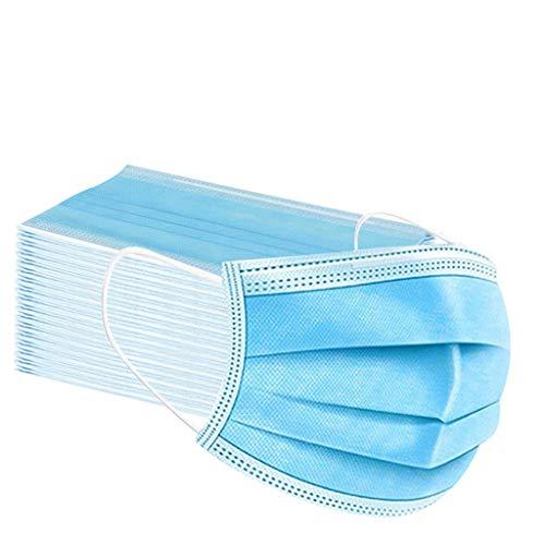 Aujelly 50 Stück Einweg Mundschutz Erwachsene 3-lagig Atmungsaktiv Komfortabel Einweg Mund und Nasenschutz Staubdicht Mund-Nasen Bedeckung Halstuch Schals BSEC (Erwachsene, Einweg-Blau-A)