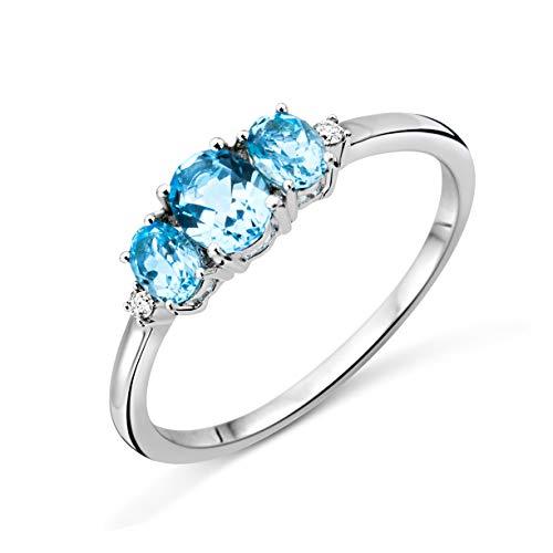 Miore Trilogy Topaz, anello da donna, oro bianco da 9 carati (oro 375), con topazio blu da 0,82 carati e diamanti da 0,02 carati e Oro bianco, 58 (18.5), cod. M9087R8