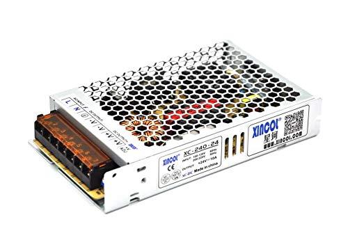 XINCOL - Fuente de alimentación conmutada ultra fina AC110V/AC220V a DC24V 10A...