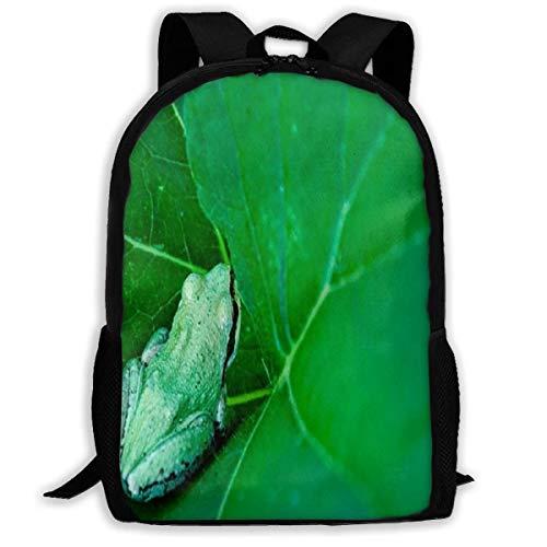 Mochila Little Frog Lilly Pad Green Leaf Zipper School Bookbag Mochila Mochila de Viaje Gimnasio Bolsa