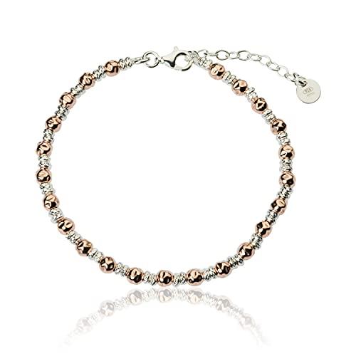 Pulsera unisex de estilo Dodo para hombre y mujer, con piedras de diamante, plata 925, oro blanco y oro rosa, longitud de 17,5 a 20,5 cm, ideal para regalo elegante y clásico Oro blanco y oro rosa