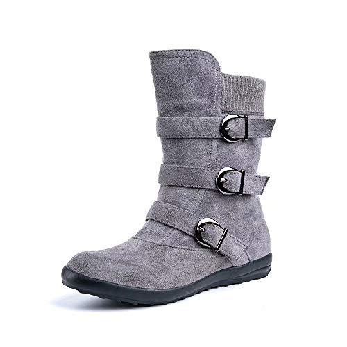 Botas Mujer Invierno Calentar Piel Forro Planos Botines Nieve Ante Botita Medianas Ankle Boots Antideslizante Elásticos Comodos Gris 37