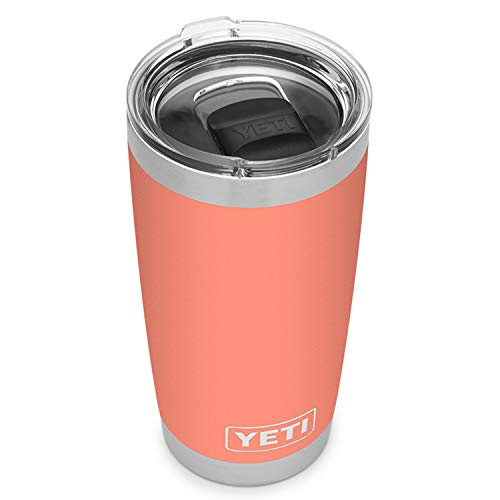 YETI Rambler 20 oz Tumbler, Stainless Steel, Vacuum Insulated with MagSlider Lid, Coral