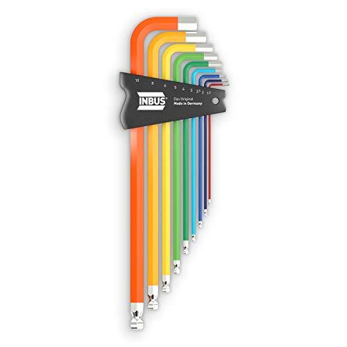 INBUS® 70273 Inbusschlüssel Set 9tlg, 1.5–10mm, mit ColorGrip bunt & Kugelkopf — Made in Germany