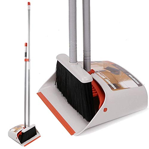 Brush and Dustpan Combo Set/Upright Standup Dustpan with Long Handle Broom for Indoor Lobby Kitchenfloor Sweeping