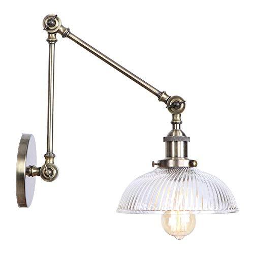 ® 1 wandlamp met lampenkap van Scandinavisch glas van smeedijzeren wandlamp inklapbaar voor hal, slaapkamer, vergadertafel, café, club, brons, E27, diameter: 38 cm