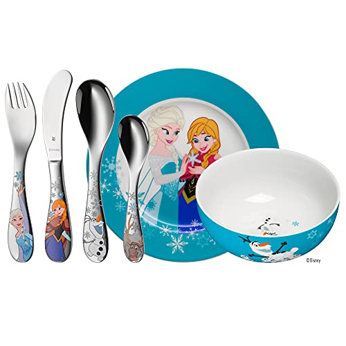 WMF Disney Frozen Kinder Geschirrset 6-teilig, Eiskönigin Elsa & Anna, Kindergeschirr mit Kinderbesteck Edelstahl, ab 3 Jahre, Cromargan poliert