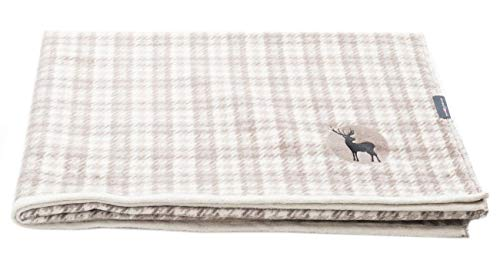 David Fussenegger Montana BW-Decke, alpines Karo mit Stick/Hirsch Natur 150/200