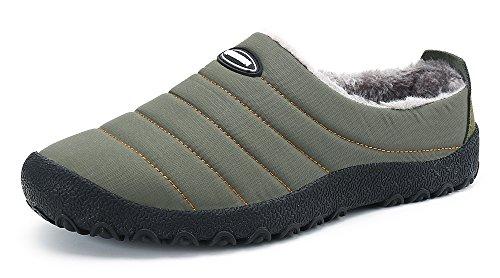 DAFENP Zapatillas de Casa para Hombre/Mujer Zapatillas Fluff Antideslizantes Invierno Cálido Confortables Casa Interior/al Aire Libre XZ322-grey1-EU41