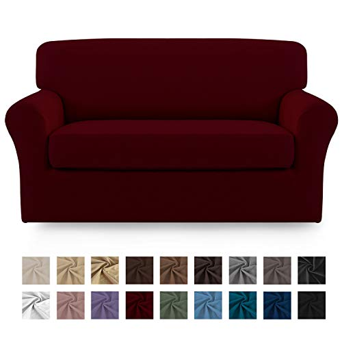 Easy-Going 2 Pieces Microfiber Stretch Sofa Slipcover – Spandex Soft Fitted Sofa Couch Cover, Washable Furniture Protector with Elastic Bottom Kids,Pet (Loveseat,Wine)
