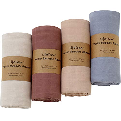 LifeTree Baby Swaddle Blankets for Boys & Girls, 100% Organic Cotton, Soft Muslin Receiving Blanket Earthy Color Baby Swaddling for Newborn, 4 Pack, Large 47 x 47 inches