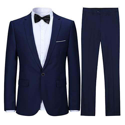 Costume Homme Confortable Formel d'affaire de Couleur uni Un Bouton à la Mode Slim fit Deux pièces, Bleu Marine, XXL