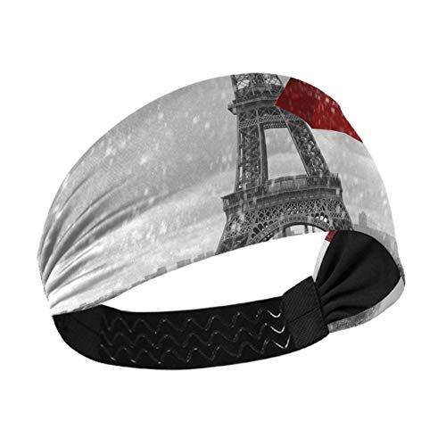 Sweaty Bands Diadema para mujeres y niñas Torre Eiffel de París con sombrillas rojas voladoras Diademas para niñas con correas elásticas antideslizantes para correr, fitness, baloncesto, baile, se ad