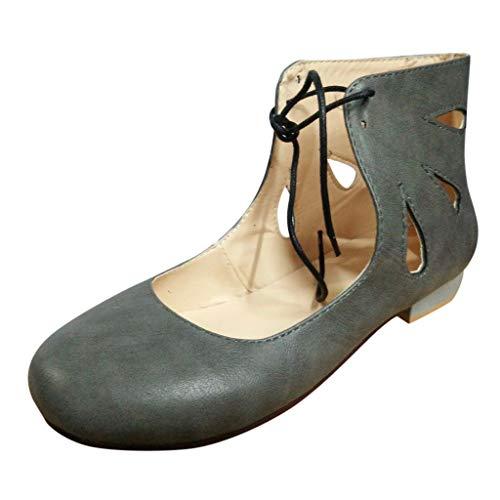 Qingsiy Sandalias Mujer Verano 2019 Zapatos de Tacón Roma Tamaño Extra Grande con Punta Hueca para Mujer Zapatillas con Cordones Sandalias Zapatos Zapatillas Chanclas Tallas Grandes