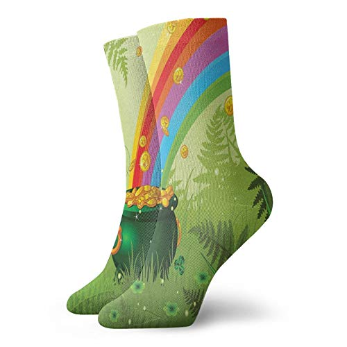 Soft Mid Calf Length Socks Pot Full Of Coins With Rainbow In Nature Branches And Leaves Cartoon Decorative Socks for Men Women