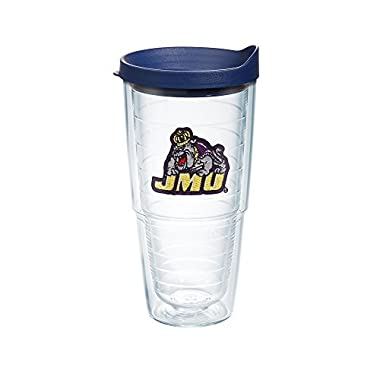 Tervis 1083299 James Madison Dukes Logo Tumbler with Emblem and Navy Lid 24oz, Clear