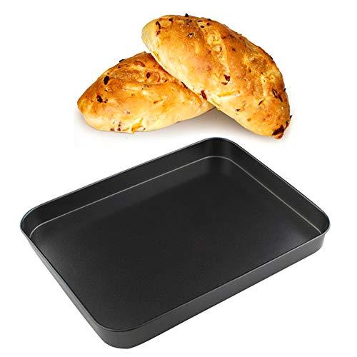 Gedrag Antistick bakplaat, rechthoek Multi-Purpose Oven Roosteren Tin Lade Bak of Vlees, Groenten, Chips of Cookies, Premium Koolstofstaal, 24 * 18 * 2.5cm