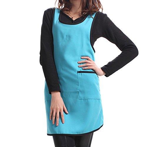 TININNA Llanura Delantal Bolsillo Delantero para Carnicerias Cocineros Cocina Cocinar Artesania Hornear Camarero Mujeres Niñas Azul