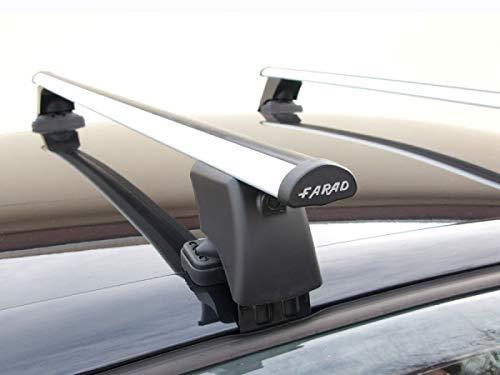 Barras portaequipajes Farad BS + Aluminio compatibles con Toyota Yaris (5 puertas) desde 1999 hasta 2005 Barras portaequipajes de aluminio para coches sin raíles en el techo