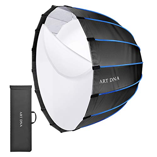 ART DNA Deep Parabolic Softbox Bowens Mount 36 inches/90cm Quick Set-Up Hexadecagon Portable Collapsible Softbox with 2 Layers Diffuser for Studio Light Speedlite Flash Photography Lighting