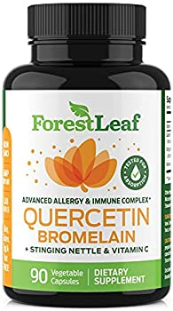 Quercetin 500mg with Bromelain Vitamin C and Stinging Nettle – Advanced Sinus and Allergy Supplement – Natural Vegetable Capsules – Non GMO Dairy Gluten Egg and Nut Free - by ForestLeaf  90