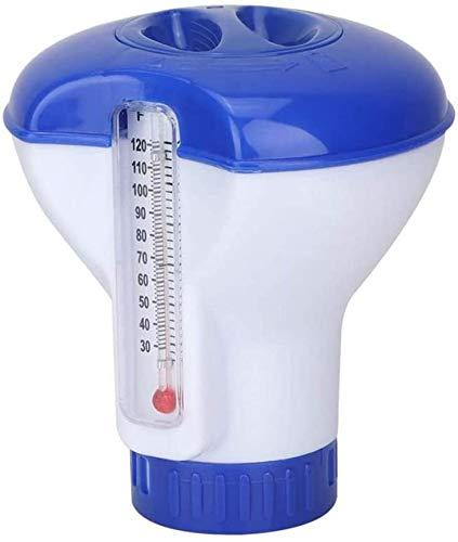 GAMRY Dispensador de Cloro de Piscina, dispensador Flotante de Cloro de 12,7 cm para Piscina al Aire Libre, Interior, SPA, bañera de hidromasaje (Blanco Azul)