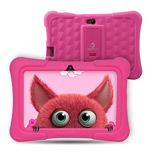 Dragon Touch Y88X PRO Tablet per Bambini 7 Pollici Android 9.0 Quad Core 2 GB RAM 16 GB Rom Wi-Fi e Bluetooth IPS HD 1024 * 600 Kidoz e Google Play preinstallato con Kid-Proof Custodia (Rosa)