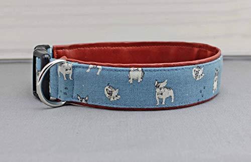 Hundehalsband mit französischer Bulldogge, blau und braun, mit Kunstleder, Halsband, Hunde