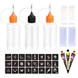 Kevinart Henna Tattoo Kit Applicator Bottle 3Pcs Squeeze Temporary Tattoo Bottles with Stencils Cotton Swab Glove for Henna Tattoo Cone Paste Ink Full Accessory Kits (Brown Black Brown)