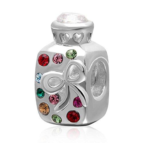 Wish Love Bottle Charm met kleurrijke kristal 925 sterling zilver geboortesteen kraal voor Europese bedeltjes armband