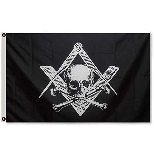 Thinkfly Masonic Flag Black Mason Banner Freemason Widow's Son Flag Banner Man Cave