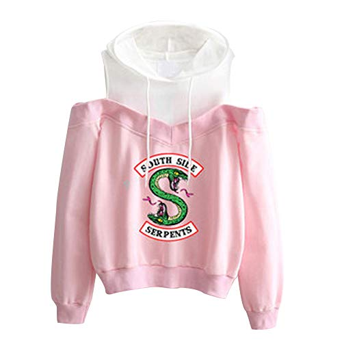 Riverdale South Side Serpents Sudadera Sin Hombros con Capucha Mujer Moda Swag Pullover Hip Hop Danza tee Shirt Camisetas Manga Larga Encapuchado Otoño Invierno Primavera Baggy Jumper Top Streetwear
