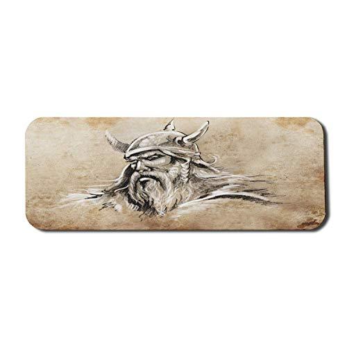 Viking Computer Mouse Pad, Skandinavischer Krieger im Sketch-Stil mit Bart und Hut Männliches Porträt-Tattoo, rechteckiges, rutschfestes Gummi-Mousepad Large Beige Tan