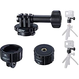 Tripod Mount Adapter for Gopro, ULANZI Quick Release Tripod Base Mount 1/4 Screw + Universal Action Cam Mount Accessory… 2 ULANZI GP-4 Quick Release Tripod Mount Base for Gopro Heo 8 7 6 5 Black/Gopro Max/DJI Osmo Action/insta 360 1/4 Thread Tripod Mount Adapter------Compatible with universal 1/4 screw tripod monopod battery handle grip extension pole stick Universal Action Camera Mount------Compatible with action cam tripod Gopro Shorty