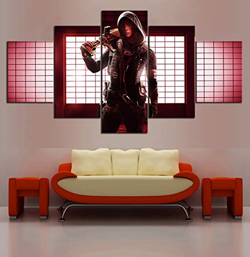HIMFL Modular Segeltuch HD-Drucke Plakate Zuhause Dekor Wandkunst Bilder 5 Panel Regenbogen sechs Belagerung Gemälde,A,30×50×2+30×70×2+30×80×1
