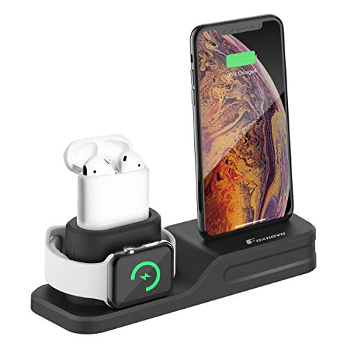 Foxnovo Apple Watch Stand, 3 in 1 per Apple Watch, iPhone e Air Pods in Silicone atossico Compatibile con Apple Watch 4/3/2/1 AirPods e iPhone 11/11 Pro/X/8/8 Plus/7 plus/6s