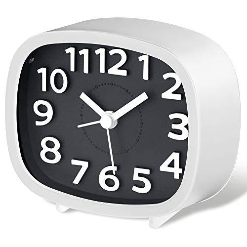 Jcobay - Sveglia silenziosa, senza ticchettio, con funzione a batteria, analogico, semplice e analogico, per camera da letto, con ampio display, ideale per traversine pesanti, ufficio e casa