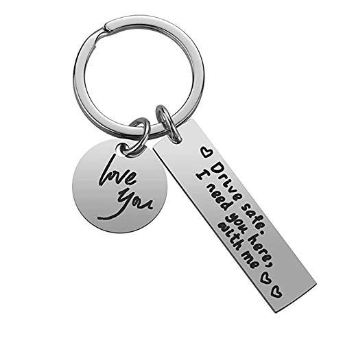 AMOE Drive Safe Schlüsselanhänger - Fahr Vorsichtig, Drive Safe I Need You here with me – Auto Schutzengel Lieblingsmensch Paare Männer Frauen