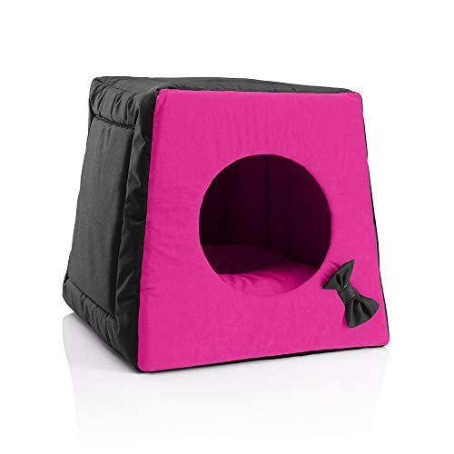 BedDog® Katzenhöhle 3in1 MIA, Katzenbox, Katzenhütte, Katzenkorb, kuscheliger Katzenschlafplatz, Katzenkissen, Haustierliegeplatz, Farbe Black-Passion (schwarz/pink)
