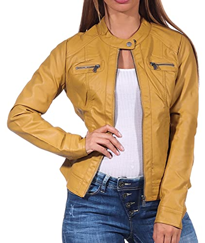 Only Onlbandit Faux Leather Biker Otw Noos Chaqueta de Cuero sinttico, Honey Mustard, 42 para Mujer
