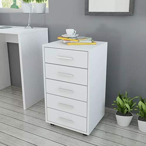 Tidyard Büroschubladenschrank auf Rollen 5 Schubladen weiß Rollcontainer 33x63x38 cm Holz Schubladenschrank Schreibtisch | Container Rollschrank klein Standcontainer schmal | Schreibtischcontainer