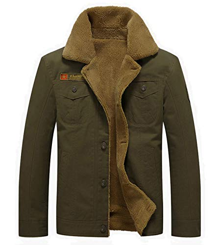 Fuwenni Men's Winter Jacket Military Sherpa Lined Fleece Jacket Fur Collar Coat Parka Army Green L