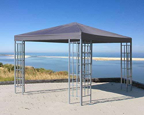 QUICK STAR Rank Pavillon 3x3m Metall Garten Partyzelt Anthrazit RAL 7012